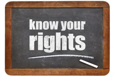 Know your rights - white chalk text on a vintage slate blackboard