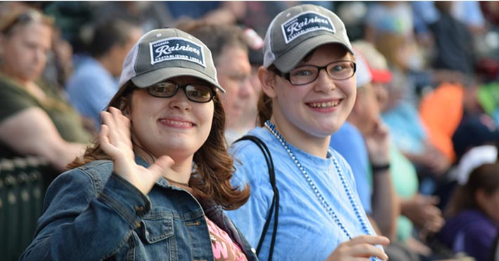 2 women attending Rainier game