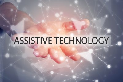 Assistive technology - a hand held out with the words assistive technology