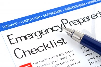 A document labeled Emergency Preparedness List is displayed