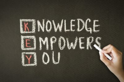 A person drawing and pointing at the words Knowledge Empowers You Chalk Illustration