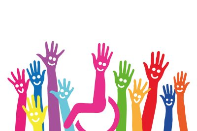 Inclusion is depicted with hands of all colors waving