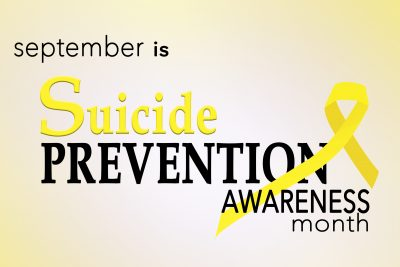 September is suicide prevention awareness month background with yellow awareness ribbon