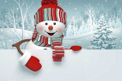 3d snowman, Christmas banner, winter background
