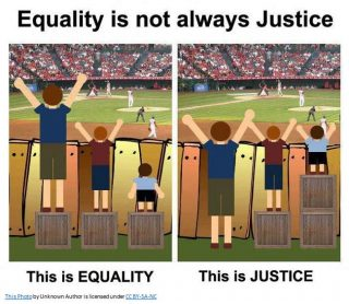 The depiction of equality through the illustration of three children on a box and then justice is shown by making the boxes different sizes to serve the needs of each individual