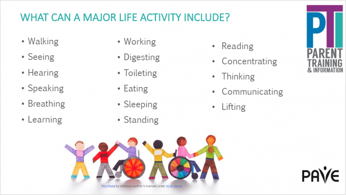 A photo of a slide that states that a Major Life Activity Includes: walking, seeing, hearing, speaking, breathing, learning, working, digesting, toileting, eating, sleeping, standing, reading, concentrating, thinking, communicating and lifting