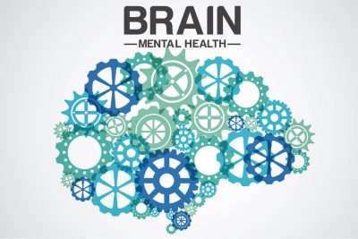 Differently sized cogs form a brain above this picture the words Brain mental health appear
