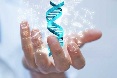 A hand holding the DNA Helix :showing that DNA has the answers