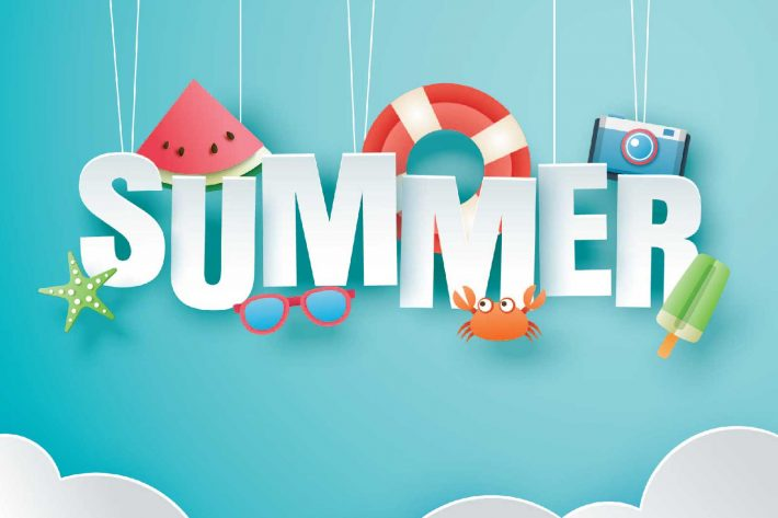 "The words ""Summer"" are displayed along with a watermelon, starfish, sunglasses and popsicles indicating summer time"
