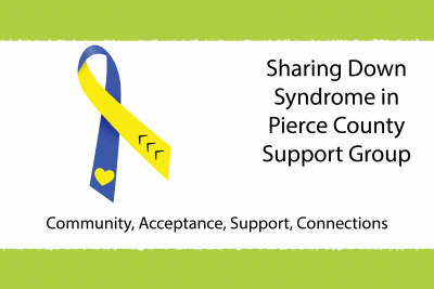 A blue and yellow ribbon representing Down syndrome is displayed