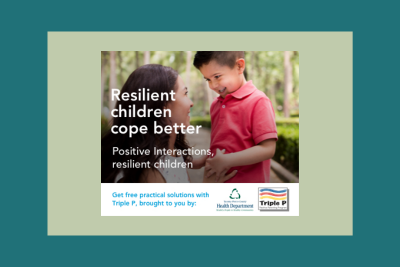 Mom and child look at each other and smile with the words Resilient Children Cope Better. Get Free Practical Solutions with Triple P