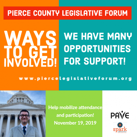 A multicolored background with a youth in front of the Capitol building along with the words Pierce County Legislative Focum Ways to Get Involved