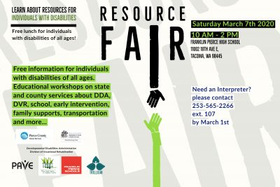 Resource fair announcement for March 7th event at franklin Pierce High School