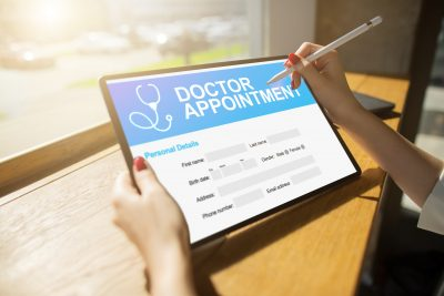 Doctor appointment online on screen. Medical and health care concept