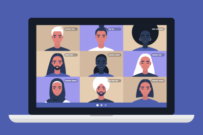 A caricature deptiction of diverse people at a virtual meeting