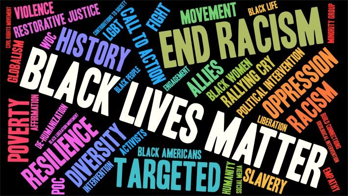 Words in different colors used to depict the Black Lives Matter movement