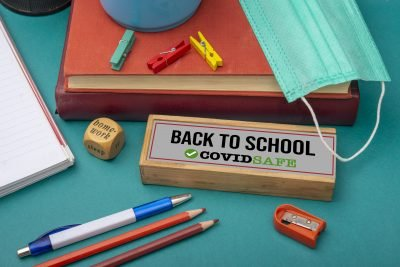 Back to School sign with covid safe text - education concept.