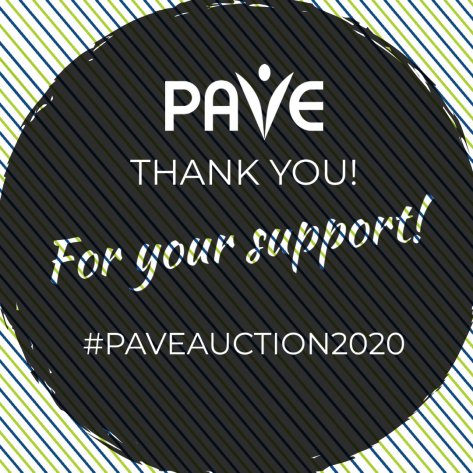 Banner with the words Thank you for your support! #PAVEAuction2020