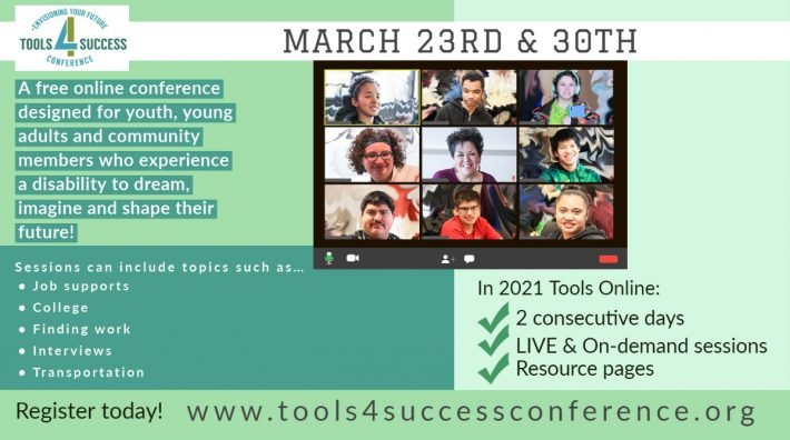 A photo depicting a zoom call with youth and a mentor is displayed Inviting people to the Tools 4 Success Conference