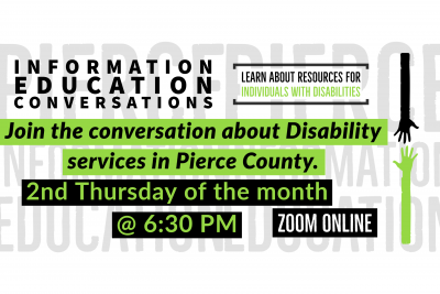 Graphic with the words Information Education Conversations Second Thursday of the Month