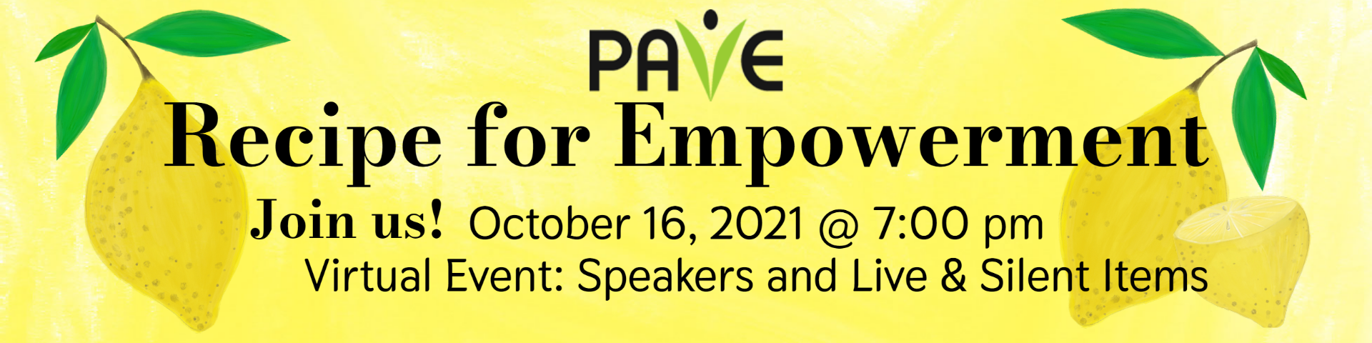 Two lemons surround the words Recipe for Empowerment event for October 16, at 7:00 pm