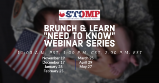 """STOMP Brunch and Learn """"Need to Know"""" Webinar Series for Military Families @ Online Event"""